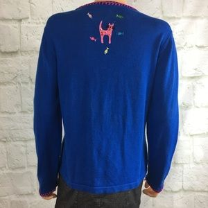 berek Sweaters - Berek Blue Cat Long Sleeve Cardigan Sweater Lg.